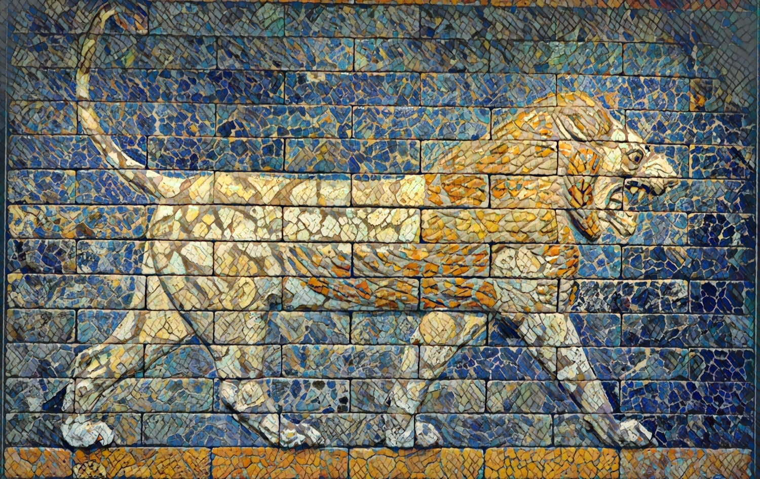 Lion in brick mosaic discovered in Babylon